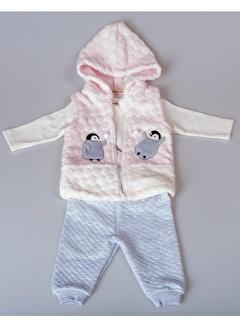 POKY Yeni Sezon Kız Erkek Bebek 6-24 Ay Penguenli Fermuarlı Kapüşonlu Yelek 3'Lü Takım-408
